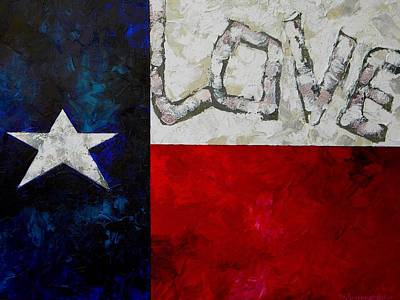 Flags Painting - Love For Texas by Patti Schermerhorn