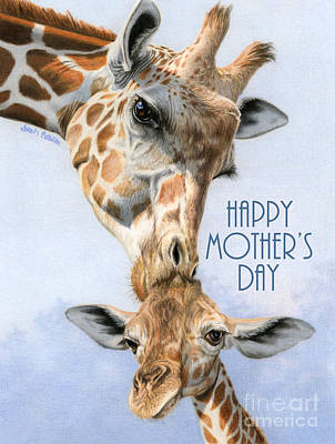 Giraffe Drawing - Love From Above- Happy Mother's Day Card by Sarah Batalka