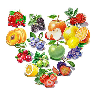 Blueberry Painting - Love Fruits And Berries by Irina Sztukowski