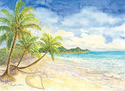 Palm Frond Painting - Love Heart On The Tropical Beach With Palm Trees by Audrey Jeanne Roberts