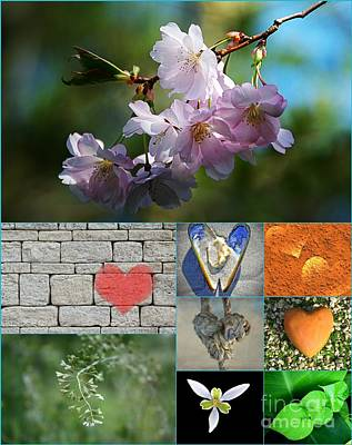 Beauty Painting - Love Hearts Collage by Celestial Images