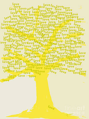 Abstract Painting - Love Inspiration Tree by Go Van Kampen