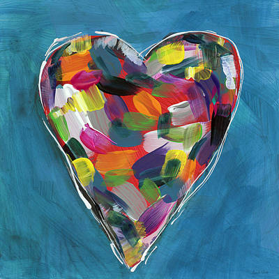 Love Is Colorful In Blue- Art By Linda Woods Print by Linda Woods