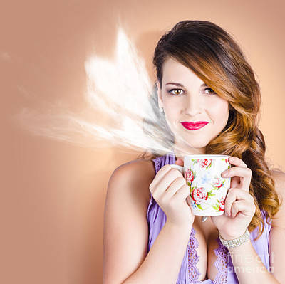 Love Is In The Air. Woman With Coffee Cup Print by Jorgo Photography - Wall Art Gallery