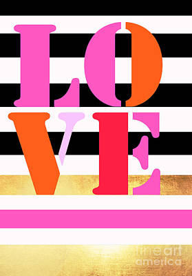 Anahi Decanio Mixed Media - Love Letters - Stripes And Gold by WALL ART and HOME DECOR
