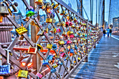 Love Locks On The Brooklyn Bridge Original by Randy Aveille