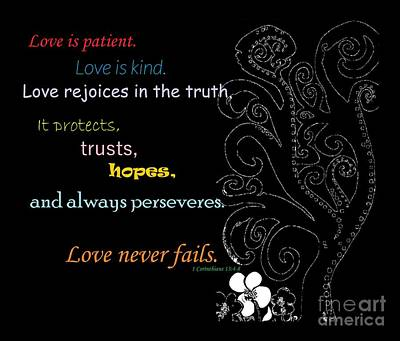 Love Never Fails Print by Eloise Schneider