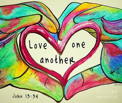 Bible Painting - Love One Another John 13 34 by Eloise Schneider