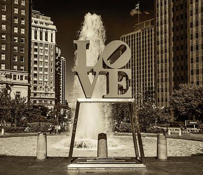 Love Park Digital Art - Love Park - Philadelphia In Sepia by Bill Cannon