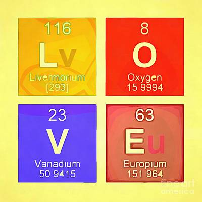 Chemical Photograph - Love Pop Art Periodic Table  by Edward Fielding