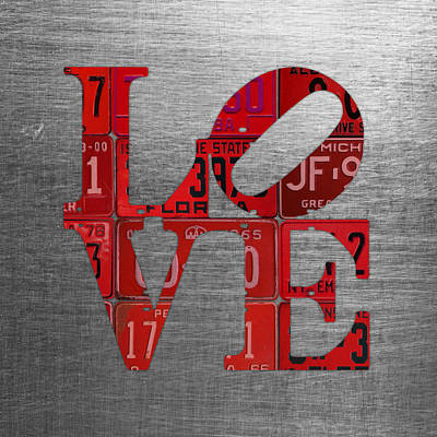 Love Park Mixed Media - Love Sign Philadelphia Recycled Red Vintage License Plates On Aluminum Sheet by Design Turnpike