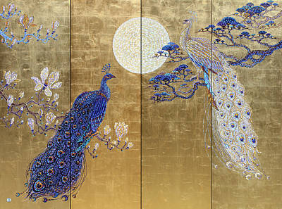 Tantra Painting - Love Song The Peacock by Polina Ogiy