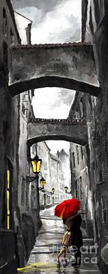 Prague Mixed Media - Love Story by Yuriy  Shevchuk