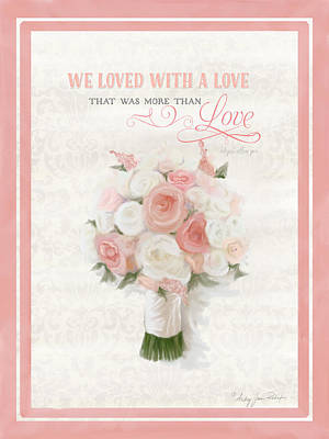Quotation Painting - Love Typography Bridal Bouquet Damask Lace Coral Peach Blush by Audrey Jeanne Roberts