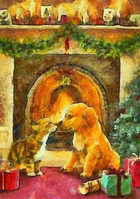 Painting - Love Under The Mistletoe by Mario Carini