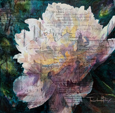 Mixed Media - Love - White Peony by Trish McKinney