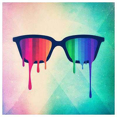 Celebrate Digital Art - Love Wins Rainbow - Spectrum Pride Hipster Nerd Glasses by Philipp Rietz