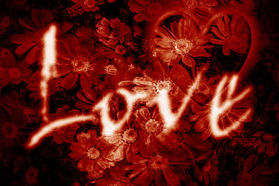 Love Digital Art - Love With Flowers by Phill Petrovic