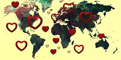 Silver Digital Art - Love World Map 2 by Alberto RuiZ