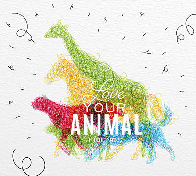 Textured Horse Art Drawing - Love Your Animal Friends by Aloke Design