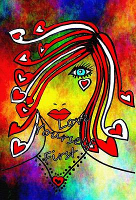 Abstract Art Mixed Media - Love Yourself First #4 by Kathleen Sartoris