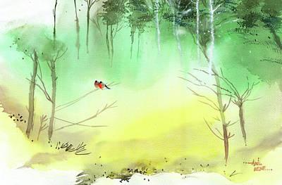 Lovebirds 3 Original by Anil Nene