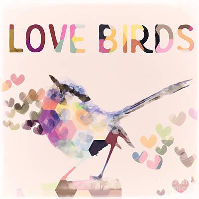 Lovebird Digital Art - Lovebirds by Amanda Lakey