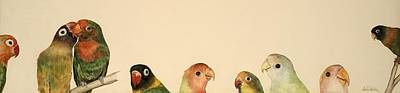 Lovebird Drawing - Lovebirds by Dee Van Houten