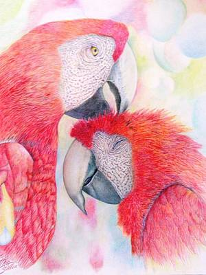 Lovebird Drawing - Lovebirds by Esther Weinapple