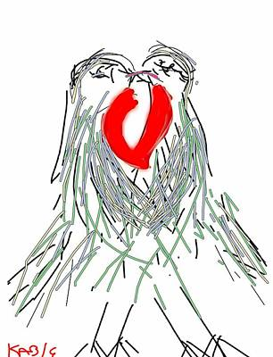Lovebird Digital Art - Lovebirds by Kathy Barney
