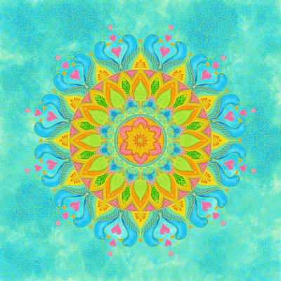 Lovebird Digital Art - Lovebirds Mandala - Zendala by Shara Lee