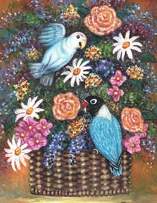 Sisters Painting - Lovebirds Two by Linda Mears