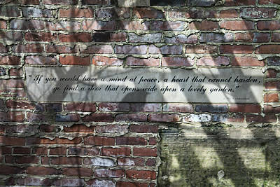 Engraved Photograph - Lovely Garden Wall by Tom Mc Nemar