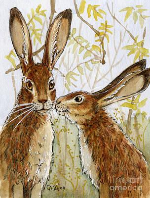 Lovely Rabbits - Little Kiss  Print by Svetlana Ledneva-Schukina