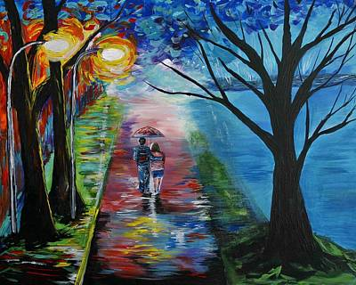 Lovely Stroll By The Lake Print by Leslie Allen