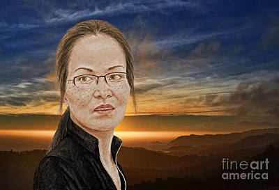 Beauty Photograph - Lovely Vietnamese Woman With Glasses And Freckles At The End Of The Day by Jim Fitzpatrick