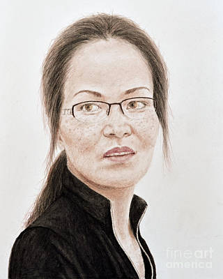 Face Mixed Media - Lovely Vietnamese Woman With Glasses And Freckles  by Jim Fitzpatrick