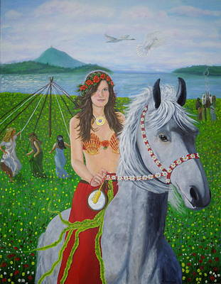 Swan Goddess Painting - Lover / Virgin Goddess Rhiannon - Beltane by Shirley Wellstead