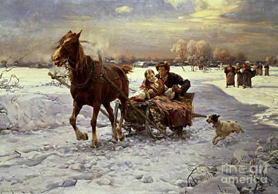 Card Painting - Lovers In A Sleigh by Alfred von Wierusz Kowalski