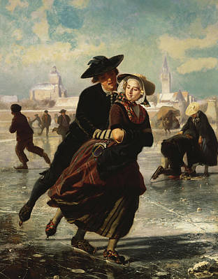 Lovers Skating Print by Adolf Alexander Dillens