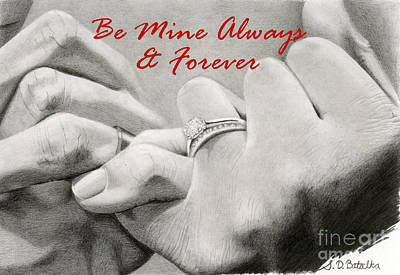 Anniversary Ring Drawing - Love's Promise- Valentine Card by Sarah Batalka