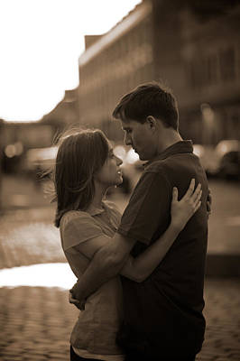 Looking Away From Camera Photograph - Loving Couple Looking Into Each Others by Gillham Studios