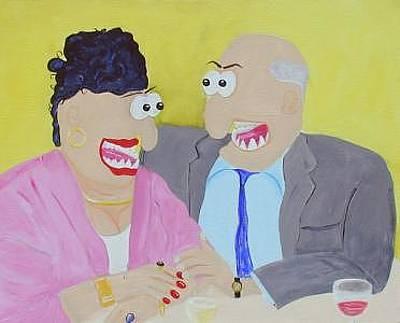 Funism Painting - Loving Couple by Sal Marino