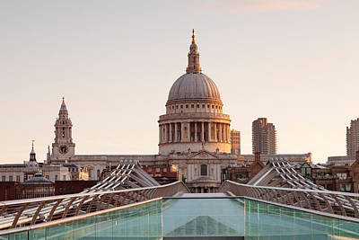 Clear Sky Photograph - Low Angle View Of St. Pauls Cathedral by Panoramic Images