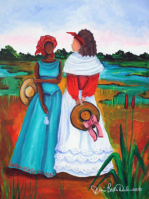 African American. Folk Art Painting - Low Country Ladies by Diane Britton Dunham