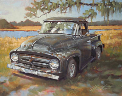 Old Trucks Painting - Low Country Parking by Todd Baxter