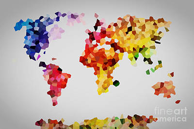 Artistic Photograph - Low Poly Colorful World Map by Michal Bednarek