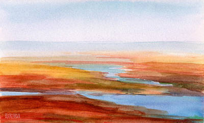 Abstract Seascape Painting - Low Tide Cape Cod by Beverly Brown Prints