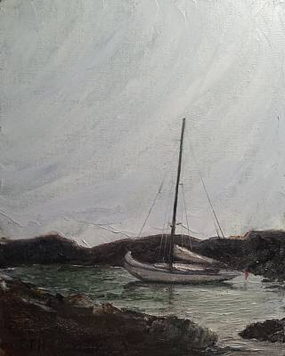 Perkins Cove Painting - Low Tide Mooring by Susan E Hanna