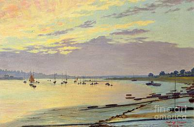 Boats In Water Painting - Low Tide by W Savage Cooper